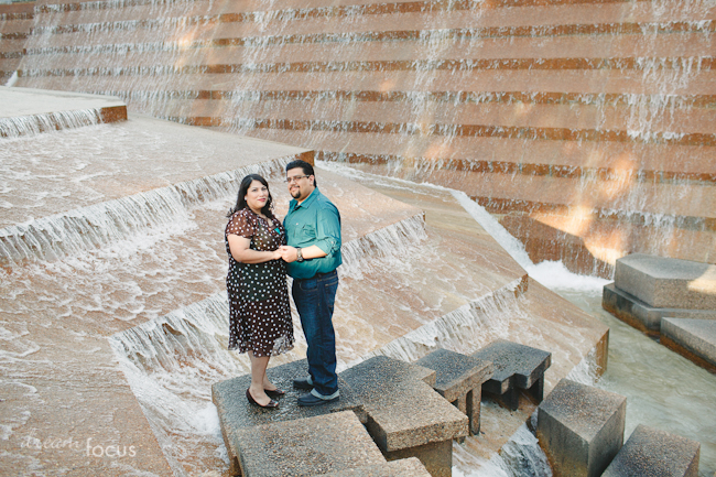 Gaby Mando Engagement Session Fort Worth Water Gardens Dream Focus Studio Dallas Texas