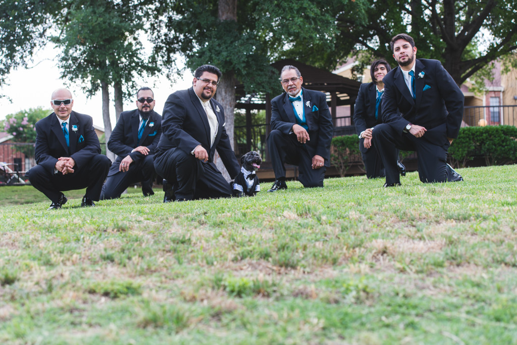 wedding dallas photographer groomsmen dog