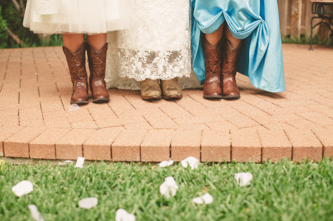 backyard wedding dallas texas cowboy boots bride and flower girls